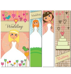 A set of four different wedding banners with vector image