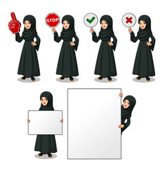 Arab businesswoman holding sign board vector