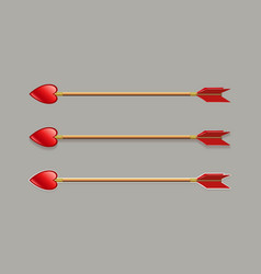 Arrow with a tip like a red heart and red plumage vector