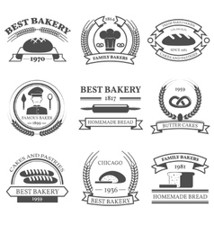 Bakery Black White Emblems Set vector image