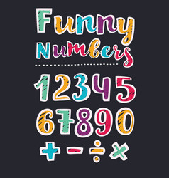beautiful print on bold font numbers for kids vector image