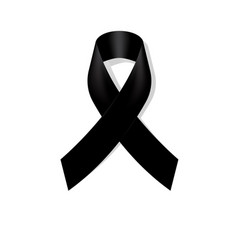 Black awareness ribbon on white background vector