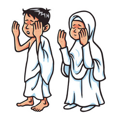 boy and girl hajj praying vector image