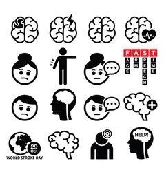 Brain stroke icons - brain injury brain damage co vector image