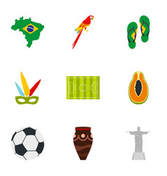 brazilia icon set flat style vector image
