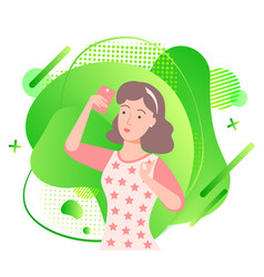 brunette girl with phone in hand on background vector image