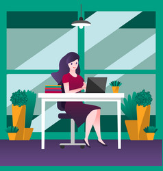 business woman sitting on a chair at table vector image