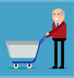 businessman with shopping trolley vector image