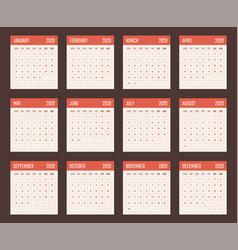 Calendar for 2020 starts monday vector