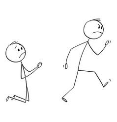 Cartoon angry customer or worker walking away vector