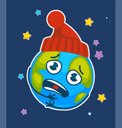 cartoon earth planet chilly frozen in hat vector image