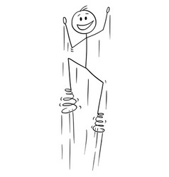 Cartoon man jumping with springs on foots vector