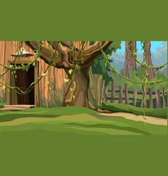 cartoon wooden house with a fence in summer vector image