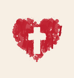 christian cross in abstract red heart inside vector image
