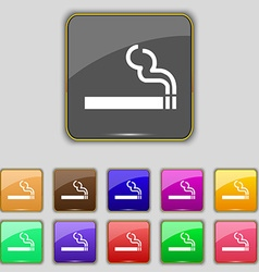 Cigarette smoke icon sign Set with eleven colored vector