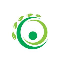 circle leaf ecology logo vector image