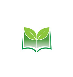 creative green book leaf logo vector image