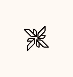 creative professional trendy monogram leaf logo vector image
