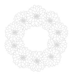 dahlia wreath outline vector image