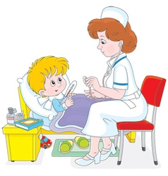 Doctor and little patient vector image