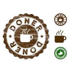 doner stamp seal with grungy texture vector image