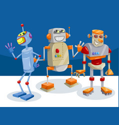 fantasy robot characters cartoon vector image