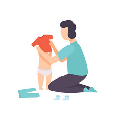Father dressing his toddler baby parent taking vector