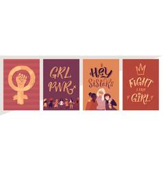 Feminism poster set girl power and sisterhood vector