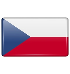 Flags Czech Republic in the form of a magnet on vector image