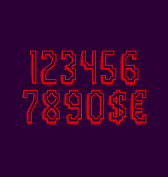 flaming red shades numbers with currency signs of vector image