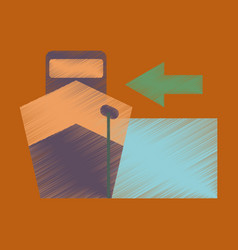 Flat icon in shading style cargo ship vector