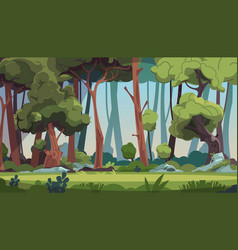 forest landscape cartoon wood with green foliage vector image