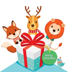 Gift box and Deer Fox Lion Bird vector image