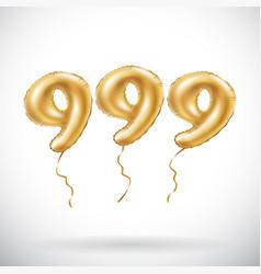 Golden number 999 nine hundred and ninety nine vector
