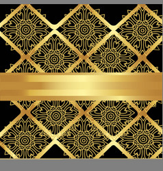 golden pattern of flowers and rhombus vector image