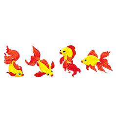 goldfish icons set cartoon style vector image
