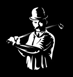 golf player logo stamp or golfer man figure vector image