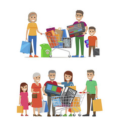 Groups people standing with bags and packs vector