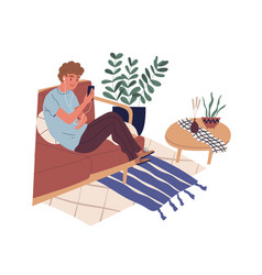 Guy sitting on sofa with phone and surfing vector