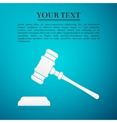 Hammer of judge or auctioneer flat icon on blue vector