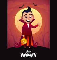 happy halloween cartoon character dracula kid vector image