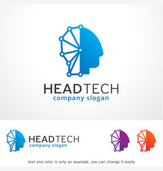 head technology logo template vector image