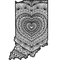 Heart in indiana state vector