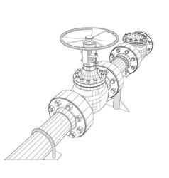 Industrial valve rendering of 3d vector