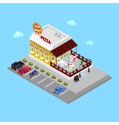 Isometric Pizzeria Restaurant with Parking Zone vector image