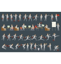 Large set of businessman character poses vector