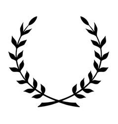 Laurel wreath black icon symbol victory vector