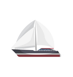Luxury sailboat side view isolated icon vector