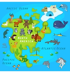 Map of North America with animals vector