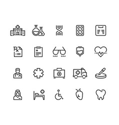 Medical line icons hospital care doctor vector